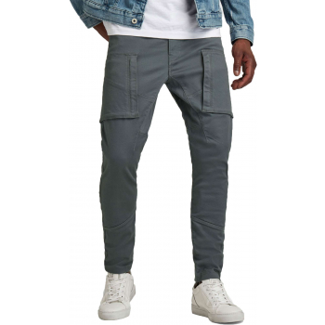 Zip pocket pants  3d skinny cargo grey