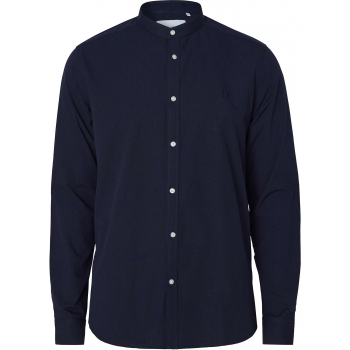 Karl seersucker mandarin shirt dark navy