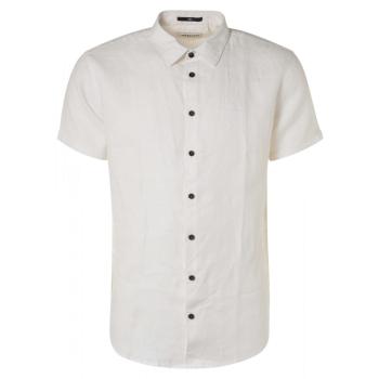 Shirt short sleeve linen white
