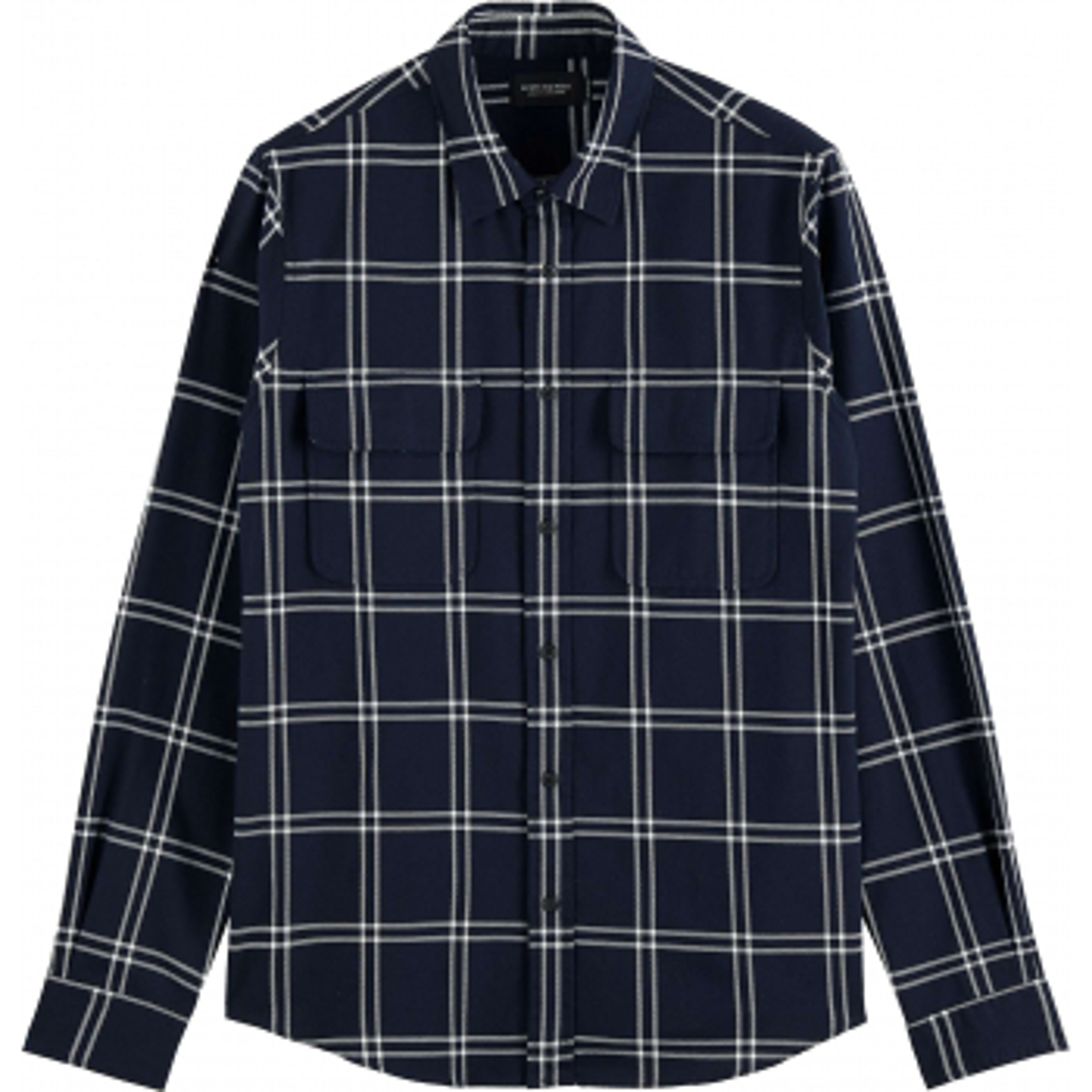 Regular fit checked twill shirt, in dark blue