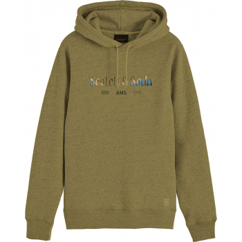 Hooded sweat with chest artwork military green