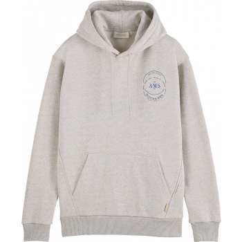 Hooded sweat with chest artwork grey melange