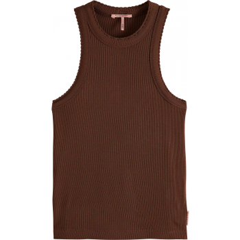 Racer back tank top with small scal brown