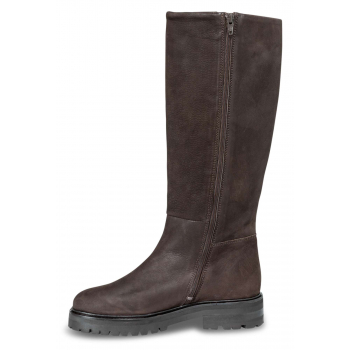 High leather boots dark brown