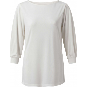 Pleated sleeve top pure white