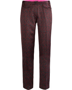 Tailored pants in flowy logo print plum