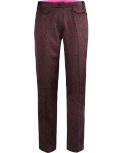 Tailored pants in flowy logo print plum