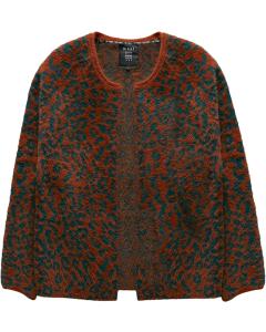Animal jacquard fur knit cardigan