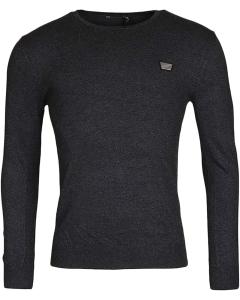 Sweater round collar&plaquette dark grey 9004