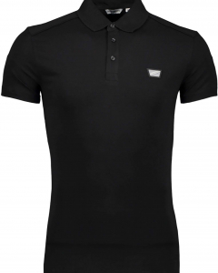 Polo slim fit with rubber plate black 9000