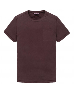 R-neck garment dyed brushed jersey decadent chocol