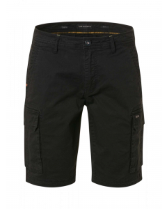 Short cargo garment dyed stretch black