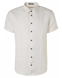Shirt short sleeve linen white