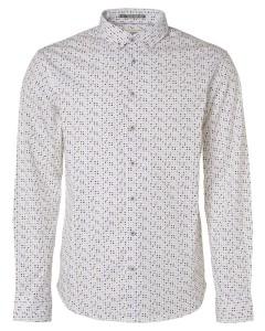 Shirt, l/sl, allover printed, stret indigo blue