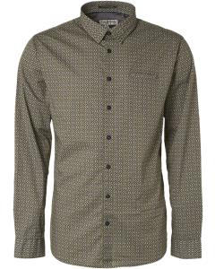 Shirt long sleeve all over printed dark green