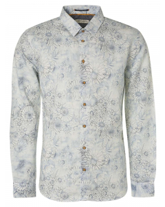 Shirt all over printed with linen white
