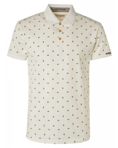 Polo allover printed stretch offwhite
