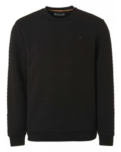 Sweater crewneck relief double fabr black