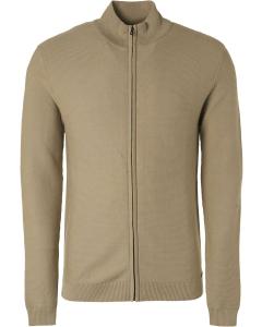 Pullover full zip rib knit stone