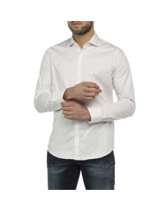 Long sleeve shirt satin twill bright white