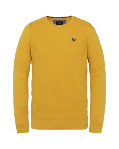 R-neck cotton knit golden yellow