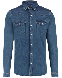 Slimfit denim shirt mid blue used