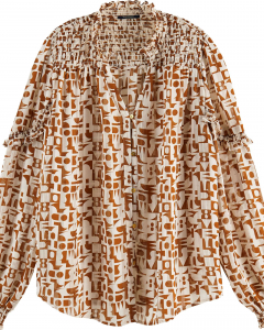 Sheer shirt with all over print combo c