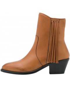 Frina leather boots biscuit/fringes
