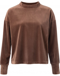 Velvet mock neck sweatshirt cacao brown
